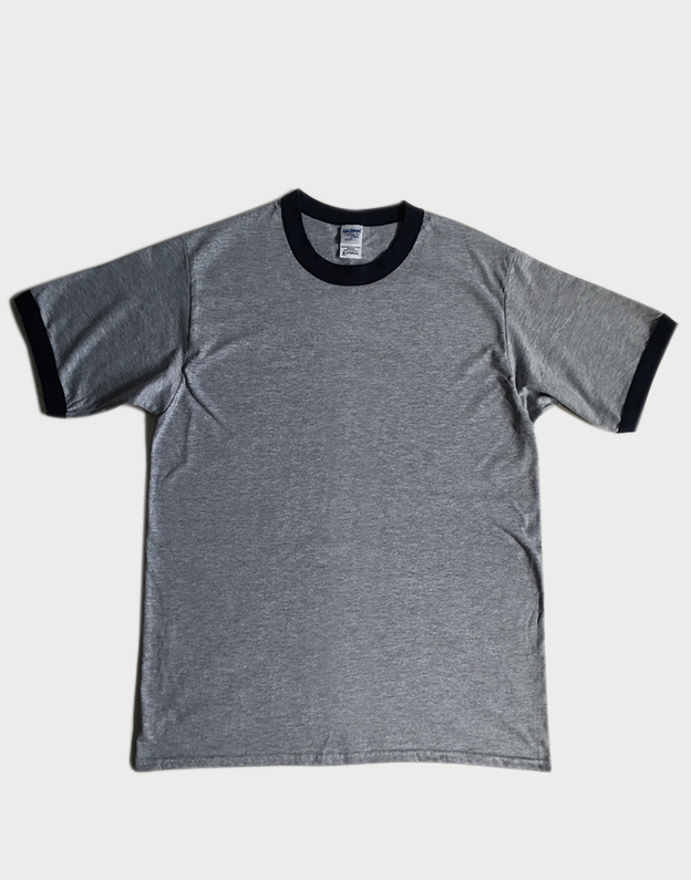 เสื้อยืด กุ๊นคอ-แขน GILDAN (สีเทา กุ๊นสีกรมท่า)