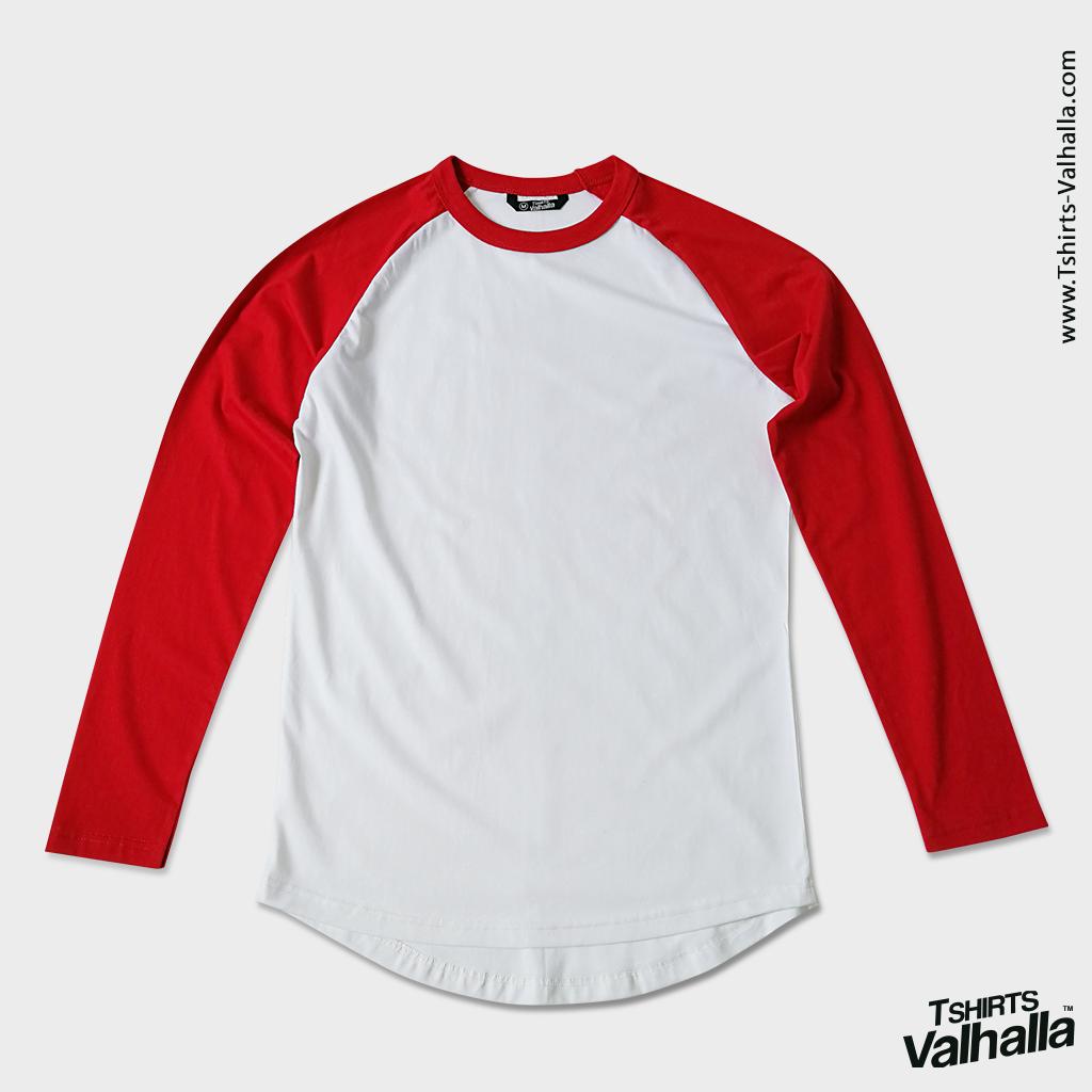 เสื้อยืด ไหล่สโลป แขนยาว สีขาว แขนแดง
